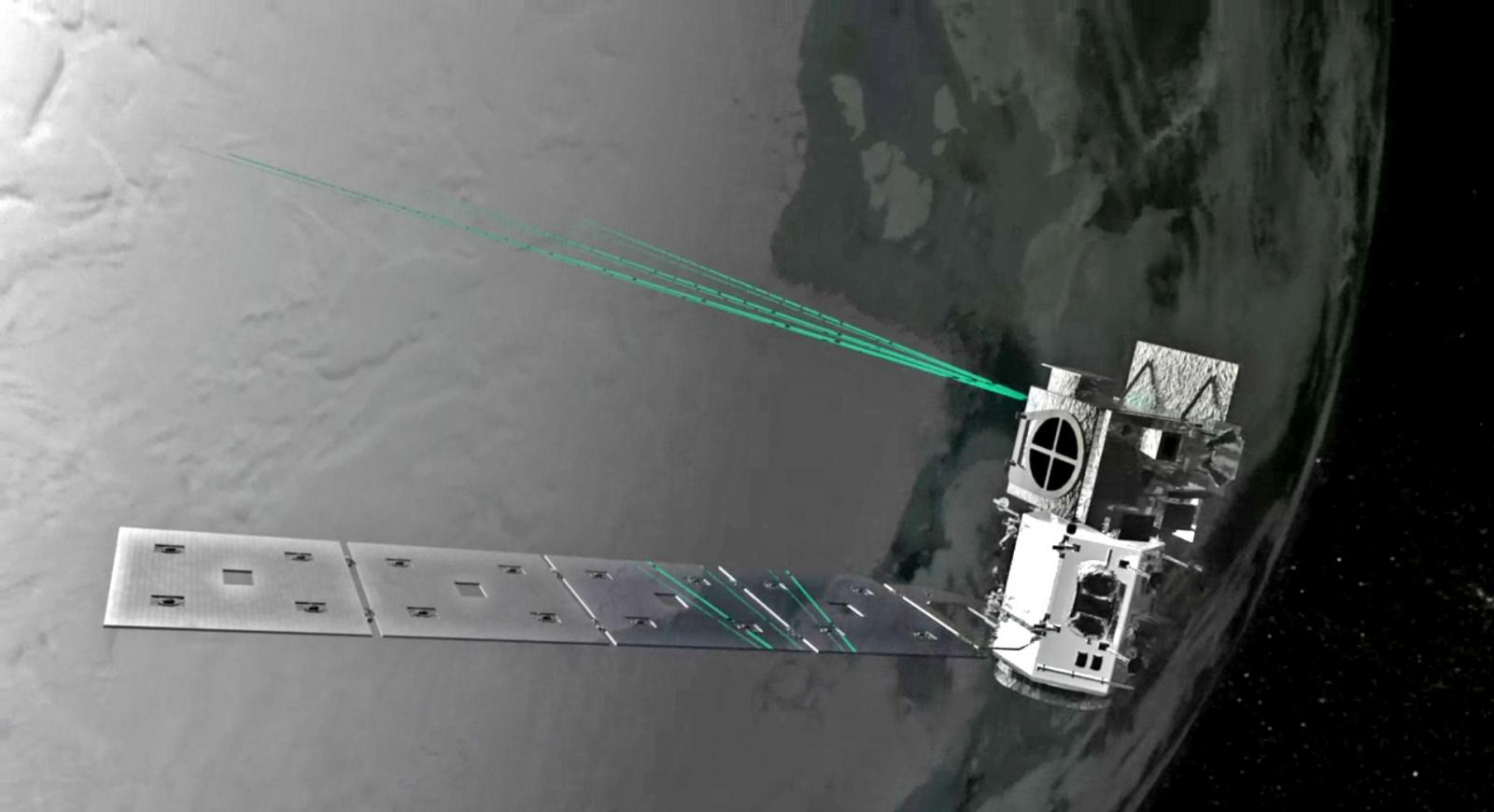 Concept art of ICESat-2's ATLAS laser system