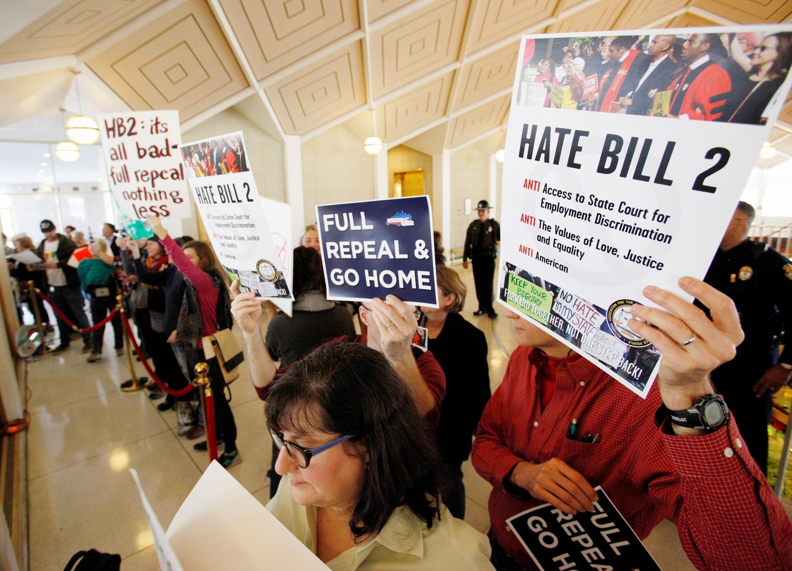 People protest North Carolina's HB2