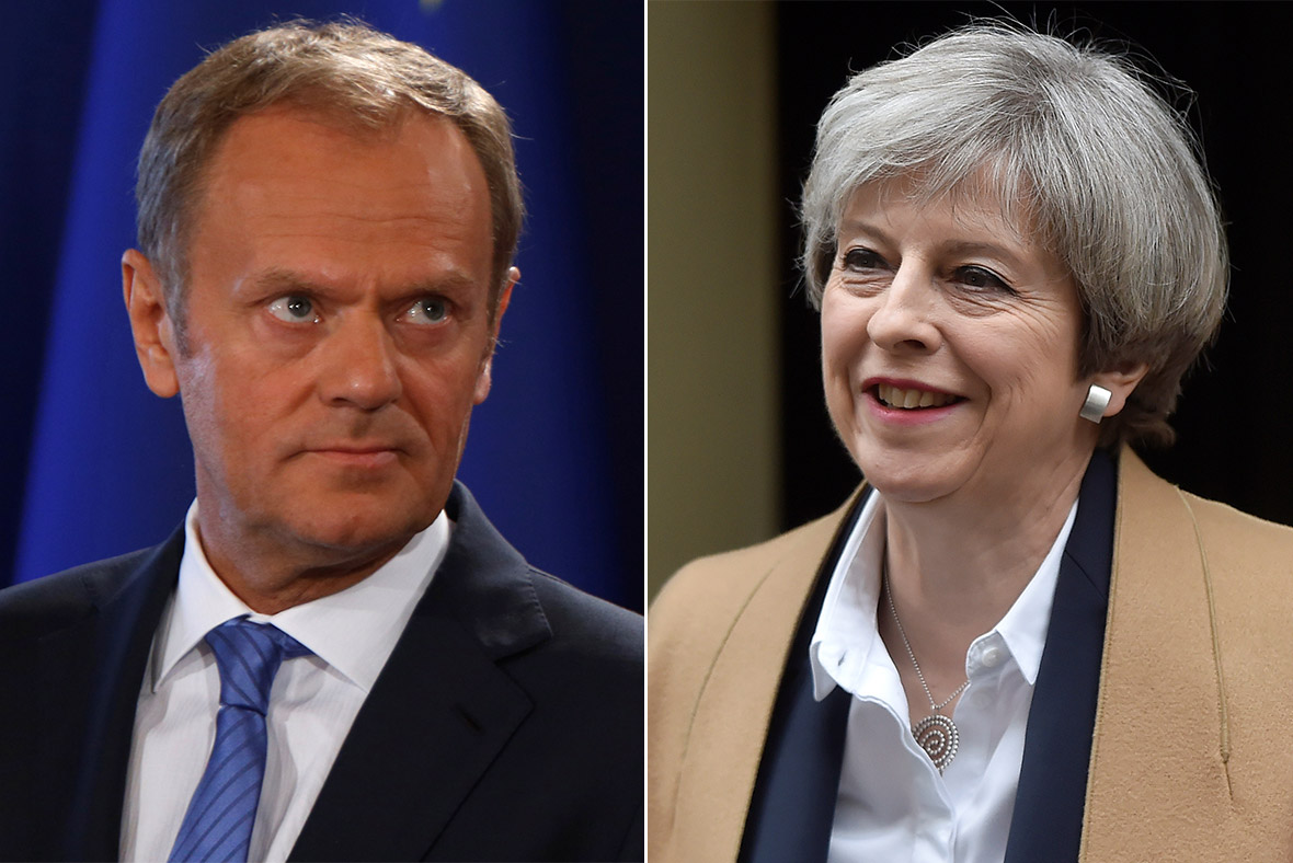 Donald Tusk, Theresa May