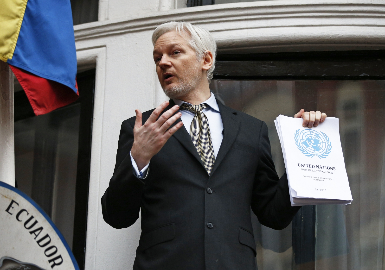 Julianh Assange addresses the media of the