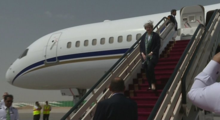 Theresa May arrives in Saudi Arabia on Middle East tour