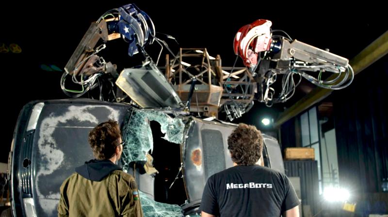 MegaBots Mark 3 crushing a car
