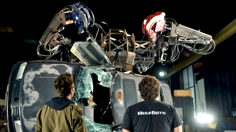 MegaBots Mark 3 crushing a car