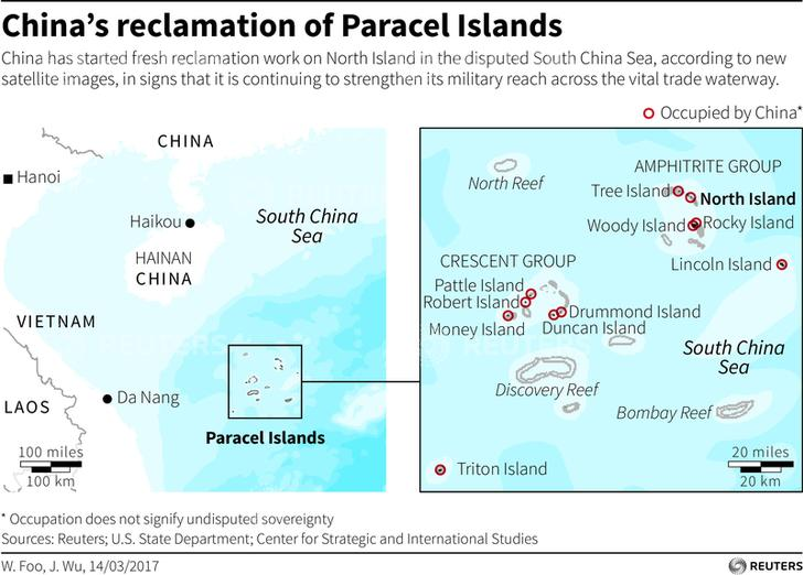 China's reclamation of Paracel Islands