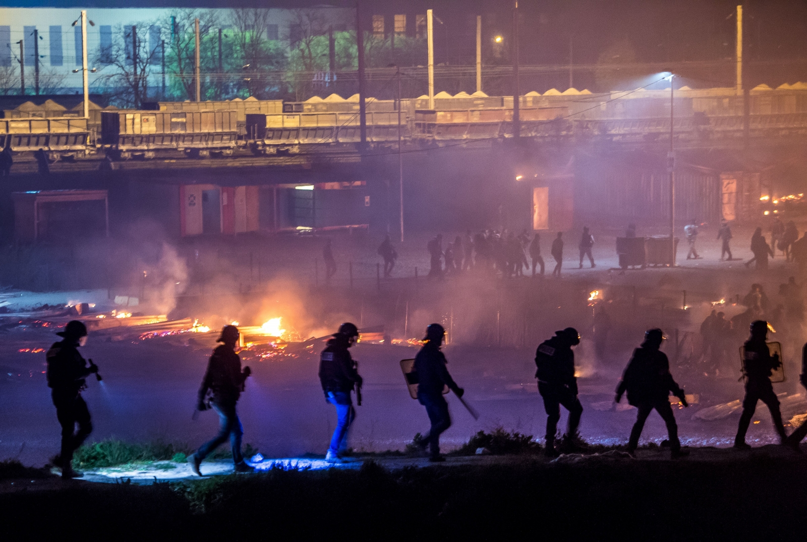 France Migrant camp fire Dunkirk Grande-Synthe