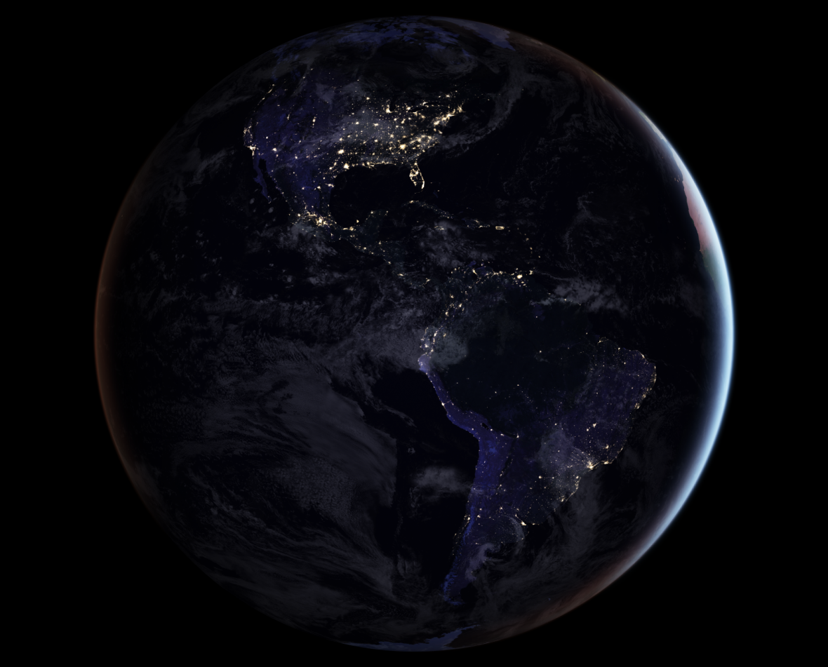 Earth full hemisphere view at night