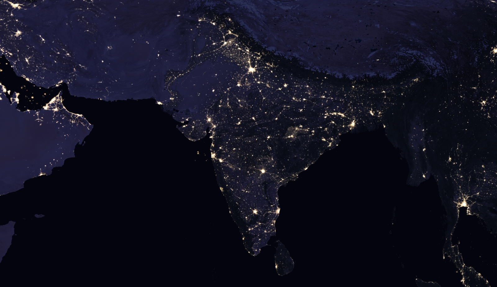 The Indian subcontinent at night