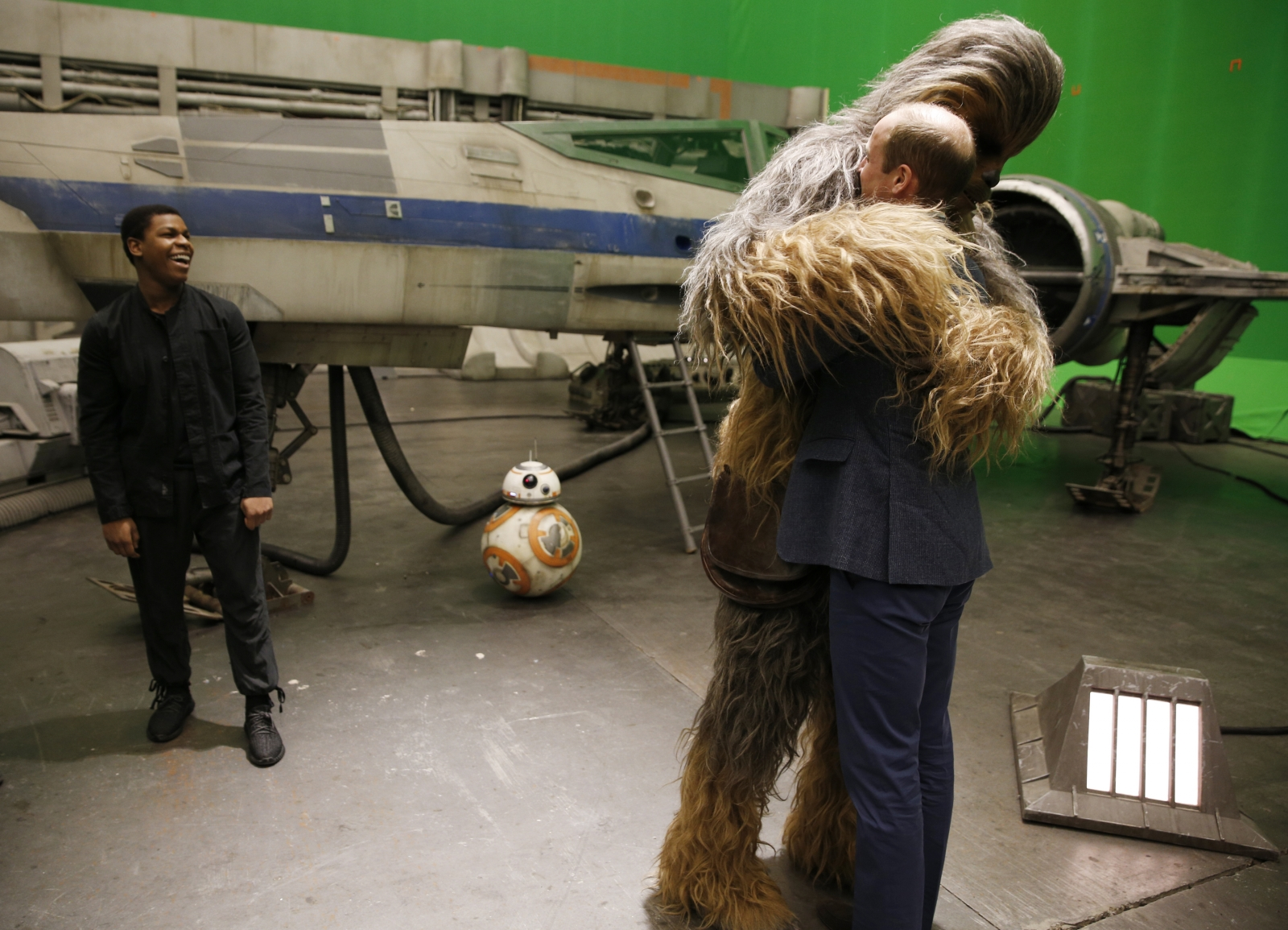 Chewbacca hugs Prince William
