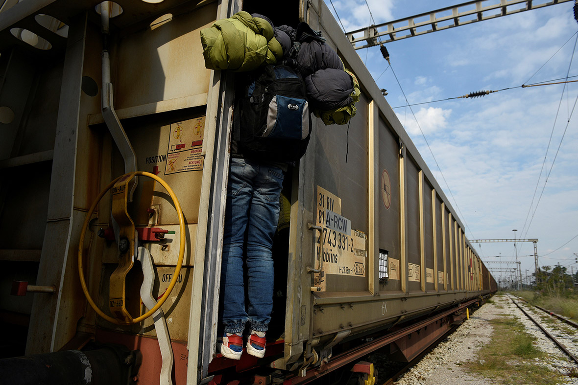 Freight trains on the Greek-Macedonian border