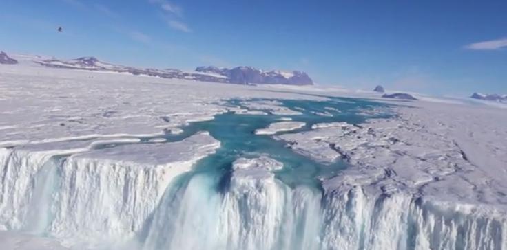 Antarctica waterfall
