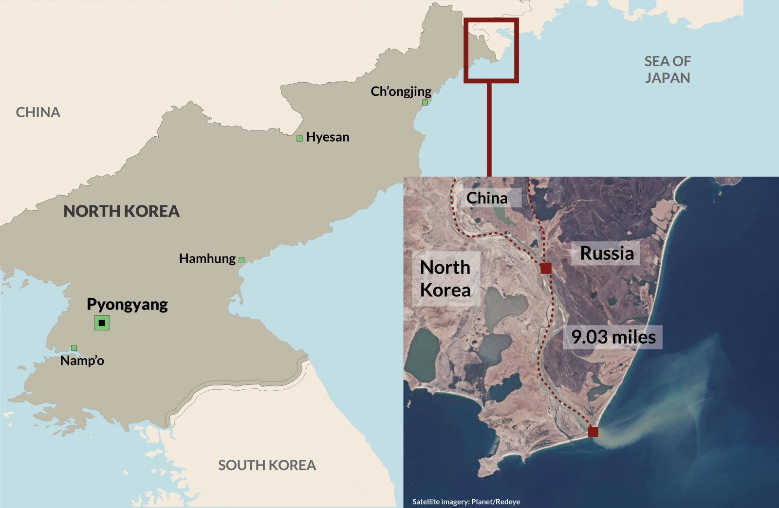 North Korea and Russia borders
