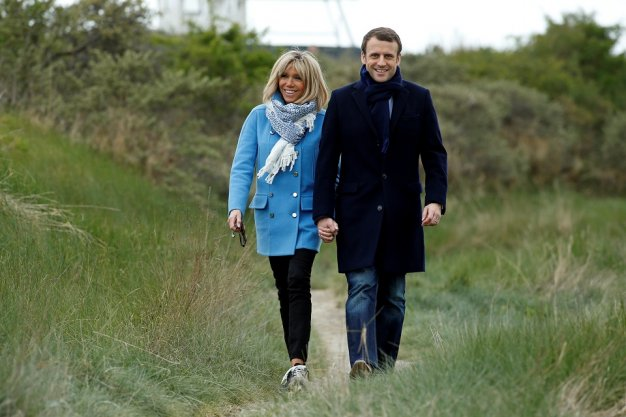 Brigitte Macron and her French presidential candidate husband Emmanuel Macron