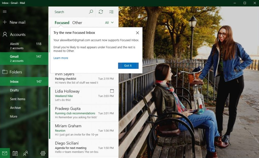 Gmail new features in Windows 10 Mail&Calendar