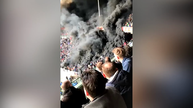 Smoke bombs set off during Dutch league football match