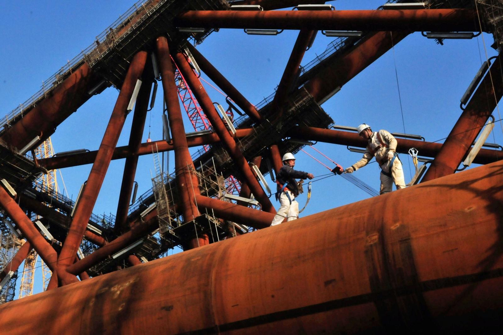 Oil platform workers