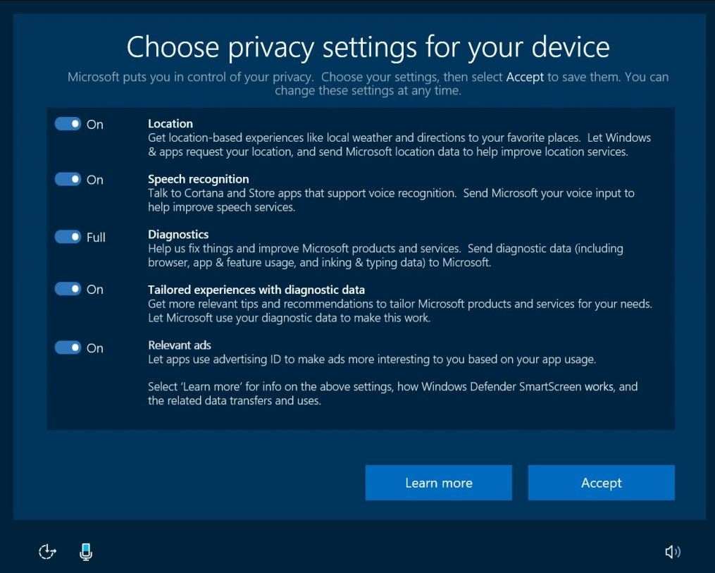 Windows 10 Creators Update privacy settings