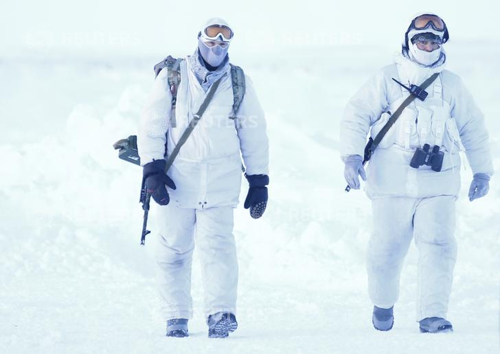 Russian servicemen on the remote Arctic islands of Franz Josef Land, Russia