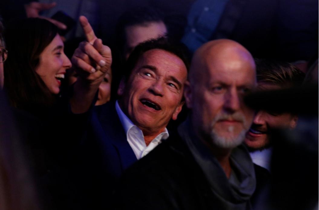 Arnold Schwarzenegger at Anthony Joshua Wembley boxing