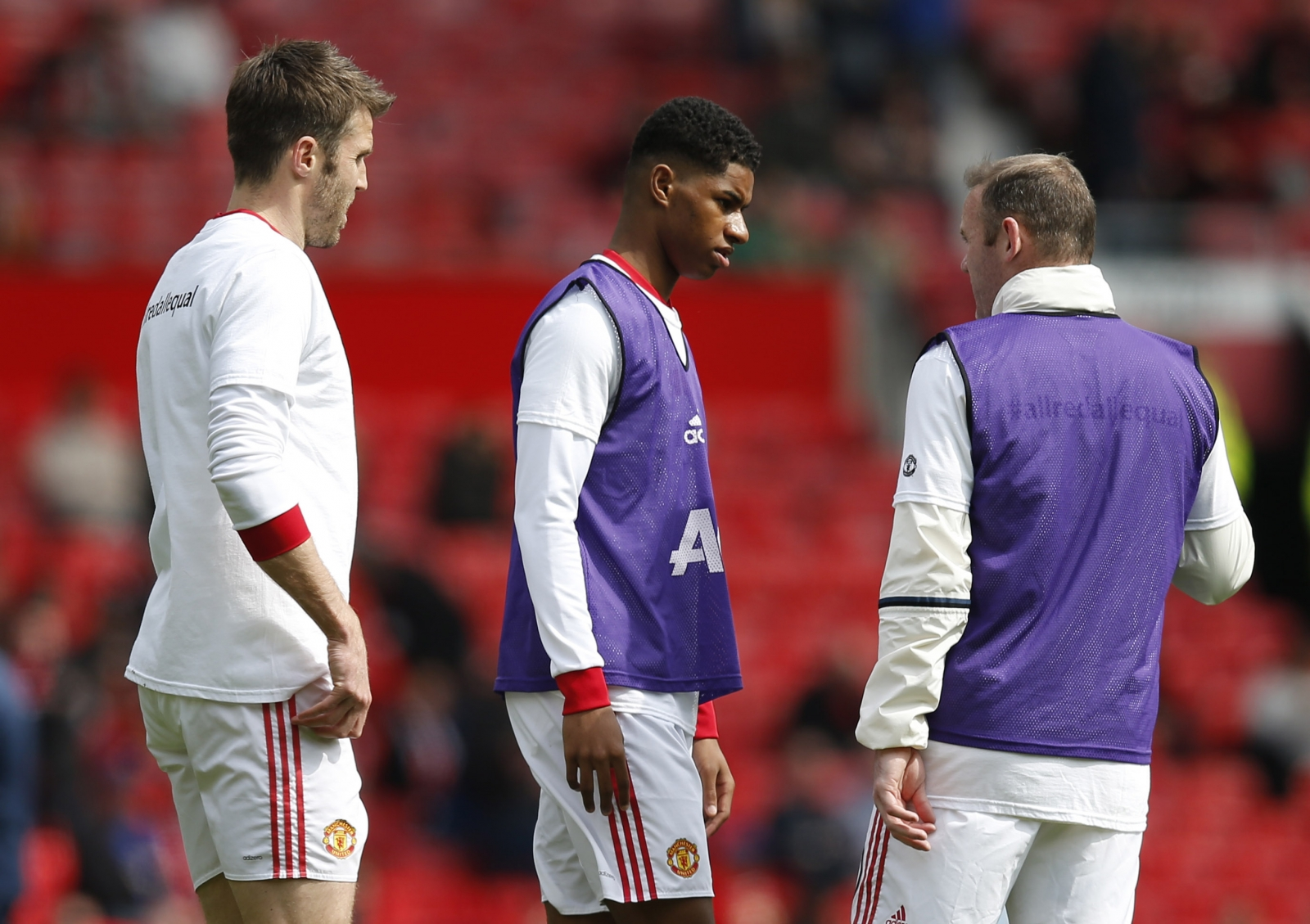 Michael Carrick, Marcus Rashford and Wayne Rooney