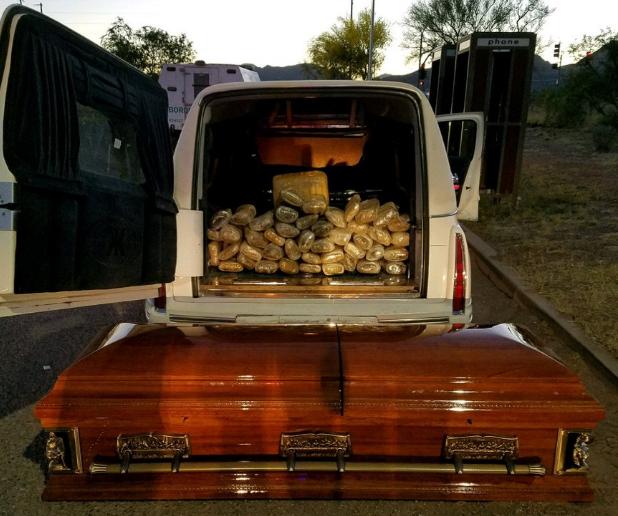 Hearse marijuana casket