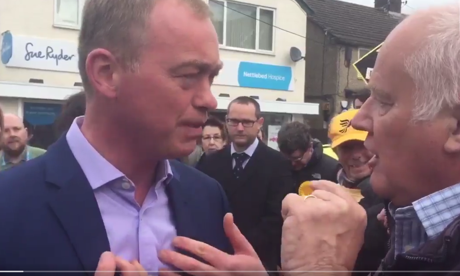 Tim Farron attacked by Malcolm baker