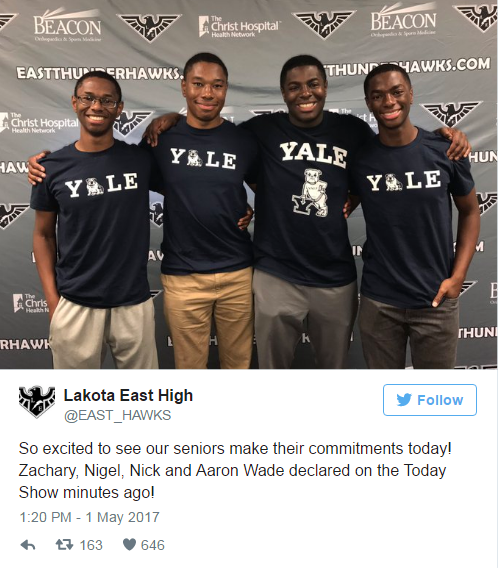 4e60698a60ca87 Quadruplets get 59 college offers - and choose to go to Yale together