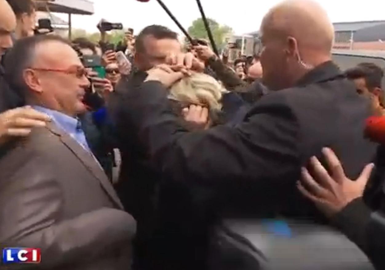 Marine Le Pen egged