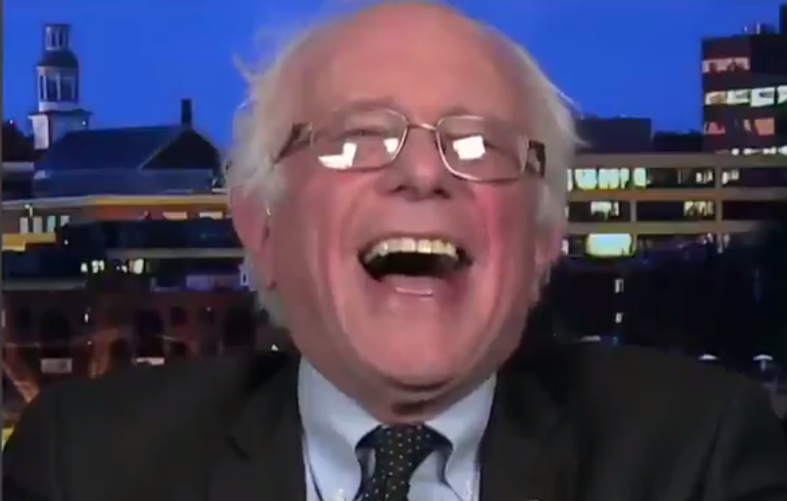 Bernie Sanders laughs at Donald Trump's remarks