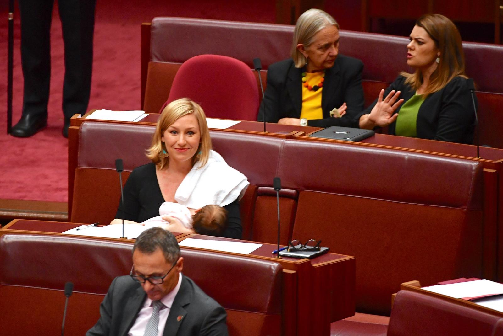 Larissa Waters breastfeeding in Parliament