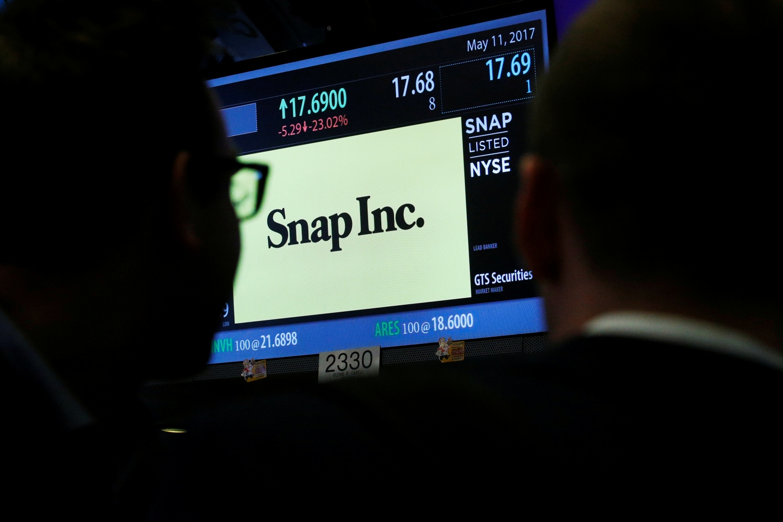 Snap Inc on the screen at NYSE