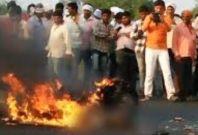 Man burning on highway