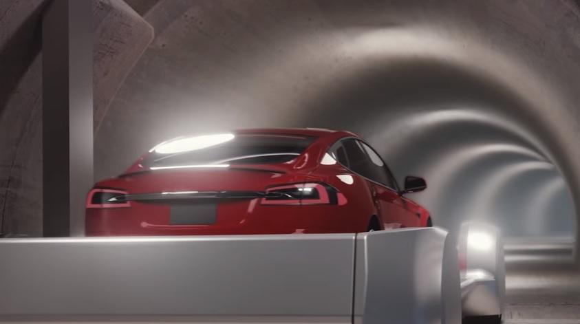 Tesla underground car sled