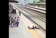 Railway staff saves woman