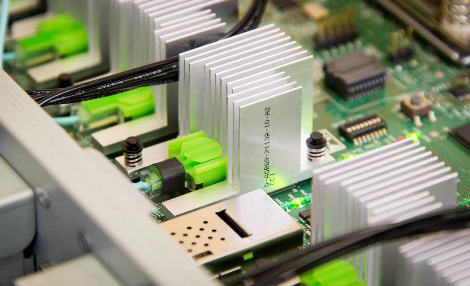 Close up of single-memory computer's circuit board