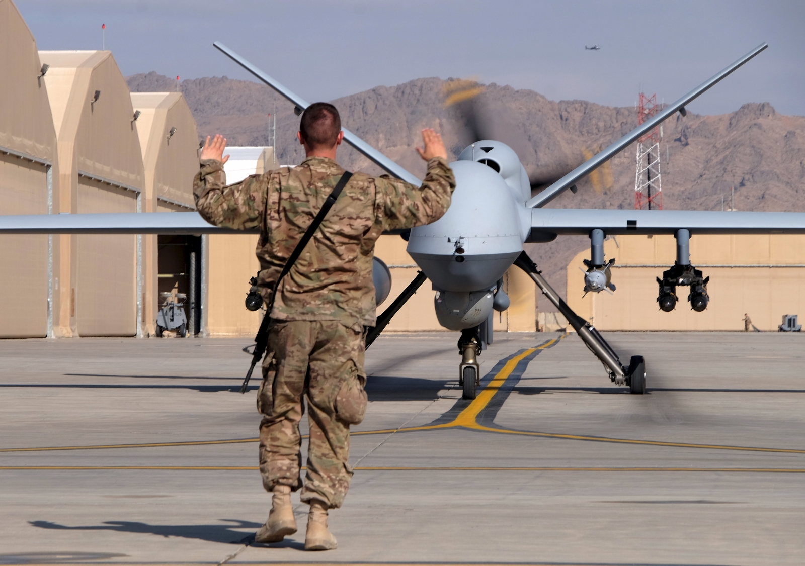 US military MQ-9 Reaper drone lands