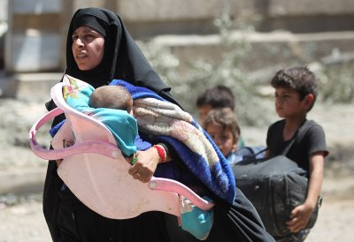 Mosul civilians bombs human shields