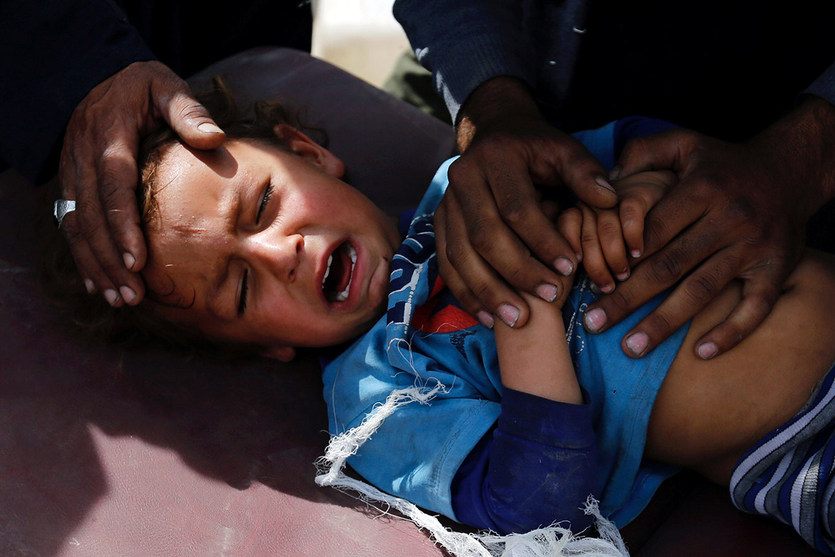 Mosul civilians bombs human shields