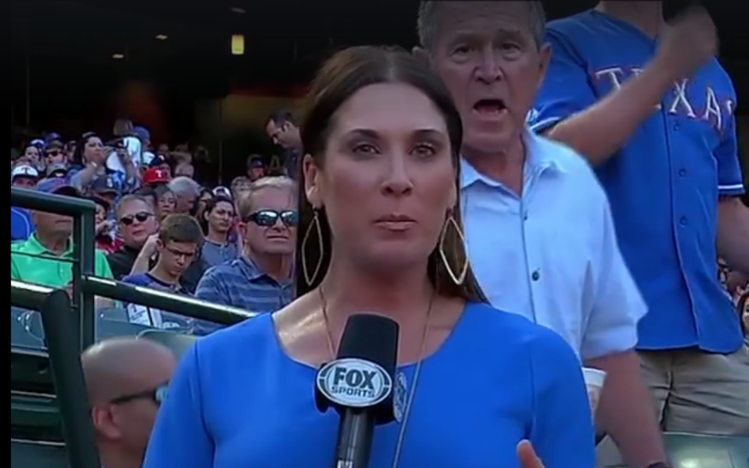 George W. Bush photobombs sports reporter