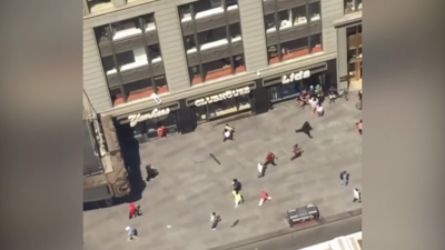 Arial view of Times Square car crash scene