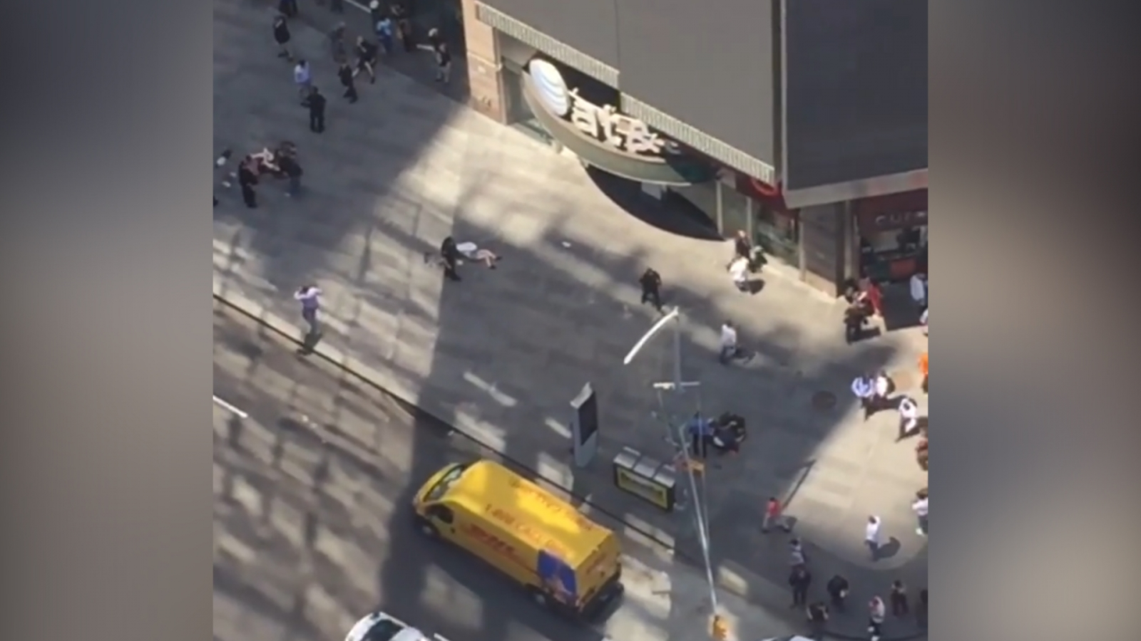 Aerial View Of Times Square Car Crash Scene