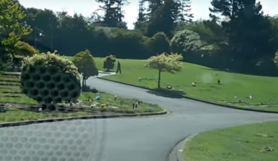 Cemetery workers play golf on graves