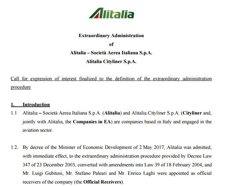 Alitalia statement