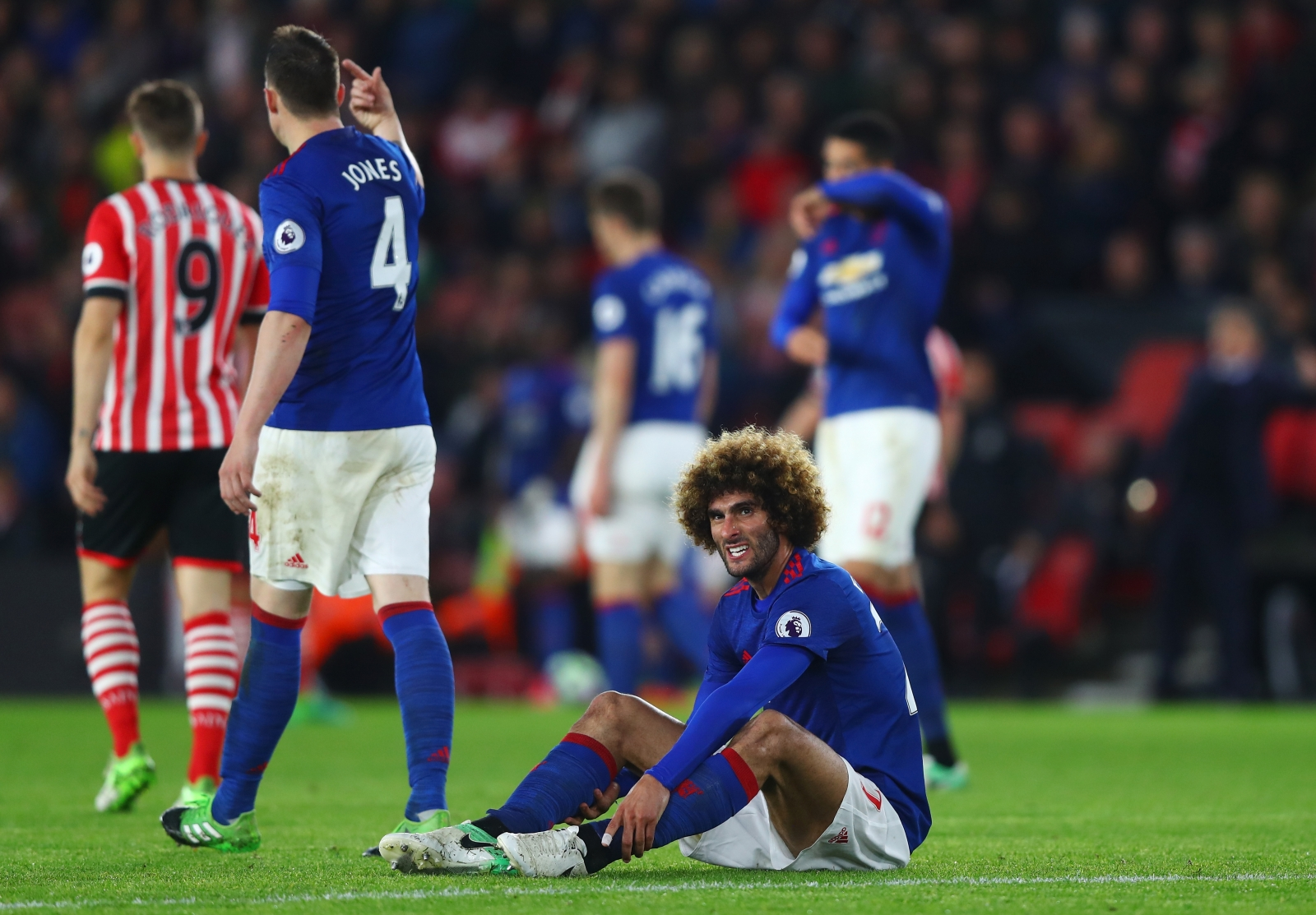Fellaini was forced off at Southampton.