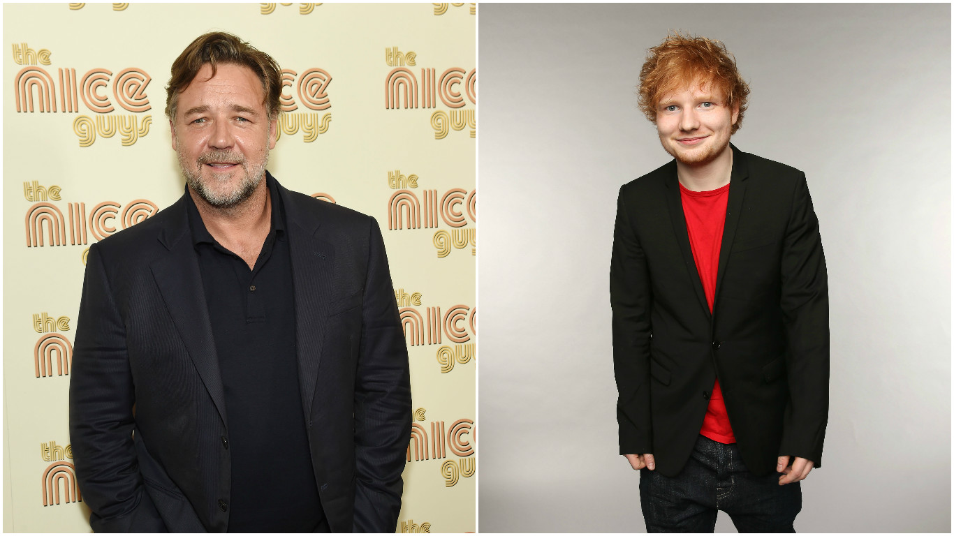 Russell Crowe may have revealed Ed Sheeran is secretly engaged