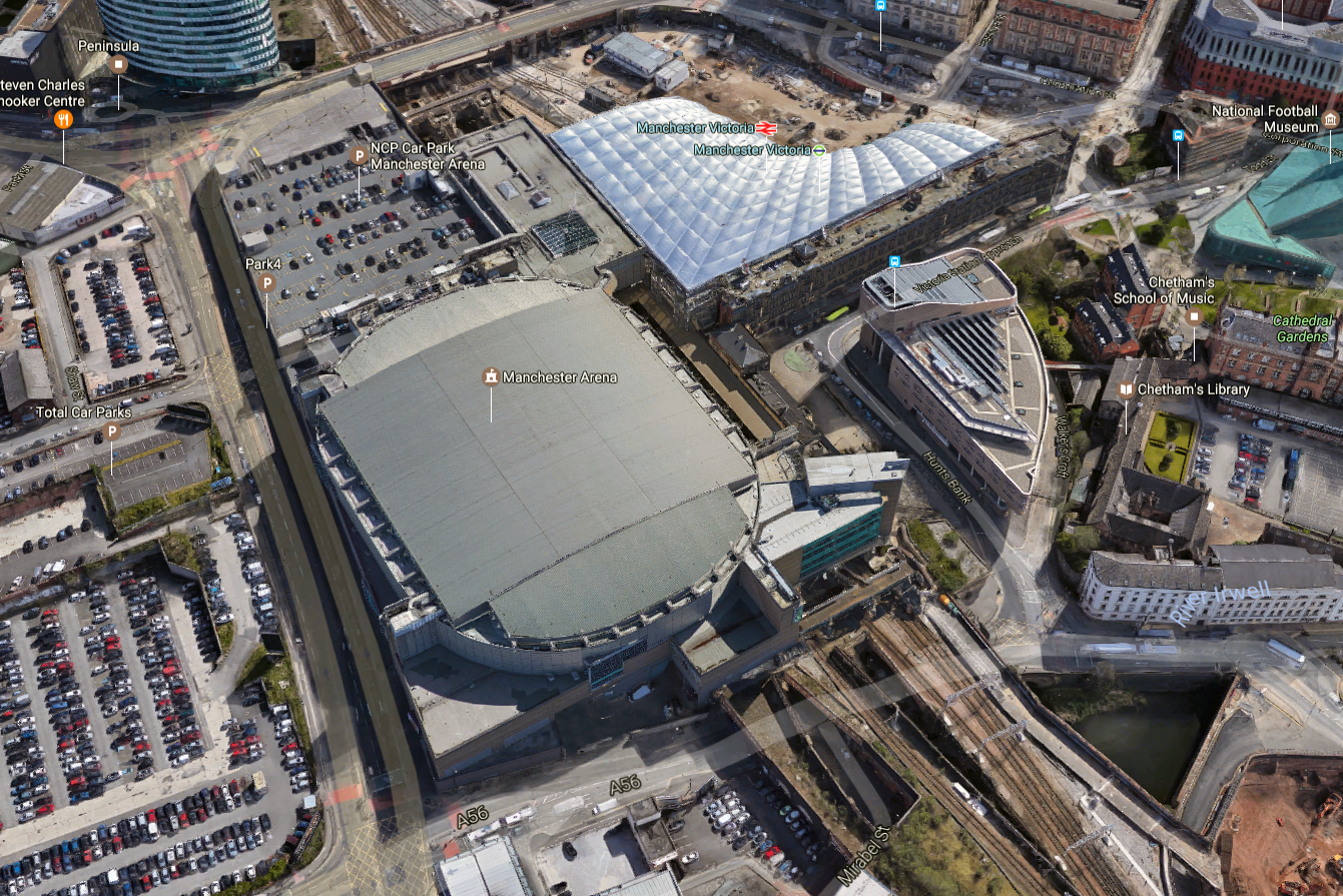 Manchester Arena Aerial view Victoria Station