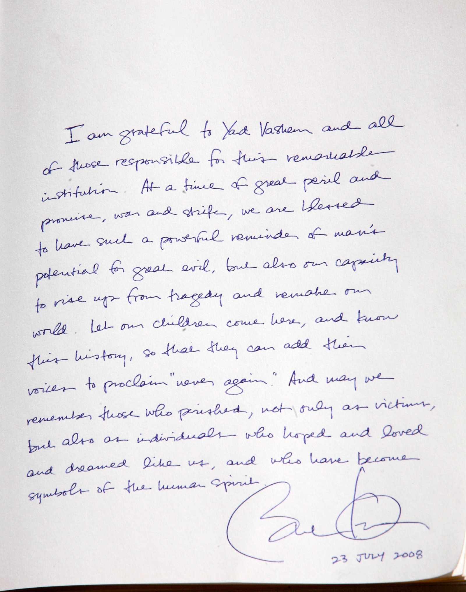 Barack Obamas message at Yad Vashem