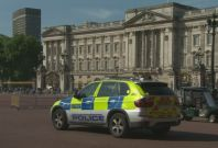 Police and soldiers at Buckingham Palace