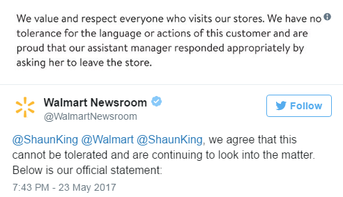 Walmart racist reply