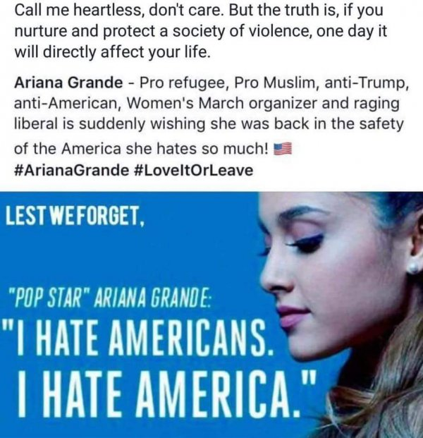 Tumblr post blaming Ariana Grande for Manchester