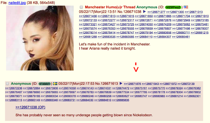 4chan thread making fun of Manchester attack